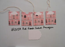 Set of 4 #2059 Pink French Couture Mannequin Unique Handmade Gift Tags