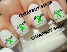 Top Quality》GREEN HOPE RIBBON》KIDNEY CANCER AWARENESS》Nail Art Decals