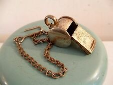 Vintage Police Special Metal Whistle Cork Chain with Hook Made in Germany Works
