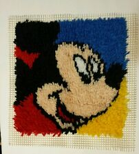 Handmade Completed Mickey Mouse Hook Rug Wall Hanging