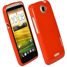 Red Glossy TPU Gel Case for HTC One X + Plus S720e Android Skin Cover Holder 1