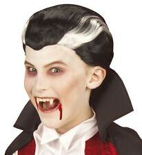 Kids Childrens Black Vampire Wig Count Dracula Scary Horror Halloween Fancy Dres