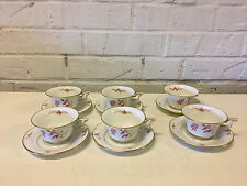 Vintage Antique Rosenthal German Porcelain Set 6 Tirana Pattern Cups & Saucers