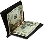 Black MEN's SOLID LEATHER SPRING MONEY CLIP Front Pocket Plain BIFOLD WALLET
