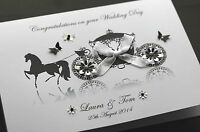 LARGE A5 Handmade Personalised CARRIAGE Congratulations Wedding Card