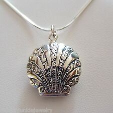 Shell Locket Necklace - 925 Sterling Silver - Holds 2 Photos *NEW* Nautical Sea