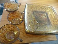 SQUARE PLATE AND COFFEE CUP SET BROWN MARBLED VINTAGE ESTATE FIND
