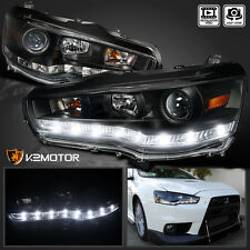 08-15 Mitsubishi EVO X Evolution 10 LED DRL Strip Projector Headlights Black