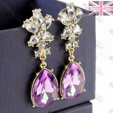 "2.5""long BIG purple RHINESTONE EARRINGS vintage gold plated TEARDROP drops"