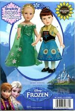 """Disney FROZEN FEVER -  Elsa & Anna - Clothes for 18"""" Doll -  Simplicity Pattern"""