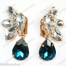 CLIP ON AUSTRIAN CRYSTAL teardrop DROP EARRINGS gold pltd GLASS rhinestone CLIPS