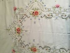 VINTAGE HAND EMBROIDERED COTTON TABLECLOTH OVAL LARGE MULTI COLORS FLOWERS LACE