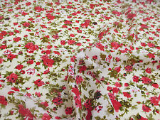 "5 Metres Cream & Pink Ditsy Floral Printed Summer Dress fabric. 58"" Wide."
