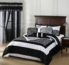 Okapi 7-Piece Black and White Micro Fur Zebra with Giraffe Design Comforter Set
