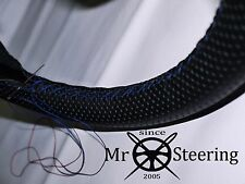 FOR MUSTANG COUGAR 67-70 PERFORATED LEATHER STEERING WHEEL COVER BLUE DOUBLE STT