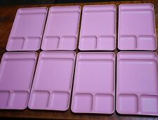 Set of 8 Vintage Mid Century TUPPERWARE Pink Cafeteria Divided Trays Lot