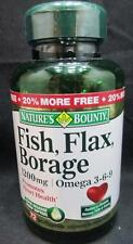 Nature's Bounty Fish Oil, Flax, Borage 1200 mg Omega 3-6-9, 72 Softgels IN DATE!