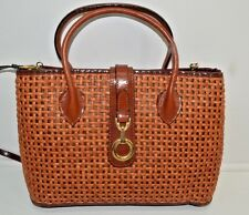 Vintage Straw Woven Weave Tote Bag Purse Purple Gold Golf Lining