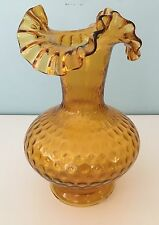 AMBER STRETCH GLASS - DOT PATTERN - VASE WITH RUFFLED EDGE