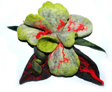 HANDMADE FELTED WOOL BROOCH/CORSAGE/PIN WET FELTING FLOWER GREEN GREY PINK