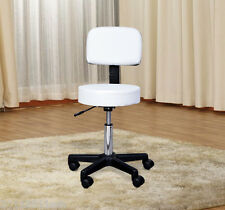 Hydraulic Massage Stool Spa Beauty Salon Chair Adjustable Mid-back Leather White