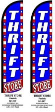 THRIFT STORE PATRIOTIC TWO(2) WINDLESS FEATHER FLAG KITS W/POLE & GROUND SPIKES