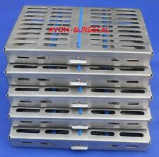 "5 Dental Instrument Autoclave Sterilization Cassette 7'X5"" Tray Racks -EXCELLENT"