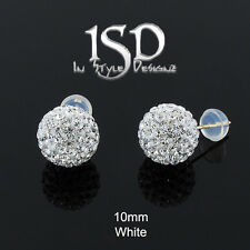 14k Gold 10mm Women's Swarovski Elements White Crystal Disco Ball Studs Earrings