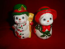 X~Vintage 1984 LEFTON LABEL~Christmas Salt Pepper Shakers~MR MRS Santa SNOWMAN