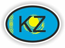 KZ KAZAKHSTAN COUNTRY CODE OVAL WITH FLAG STICKER bumper decal car bike tablet
