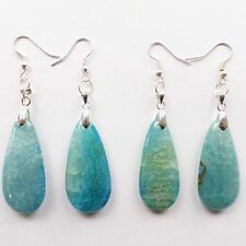 2 Pairs of Blue Dragon Veins Agate Teardrop Earrings B0115