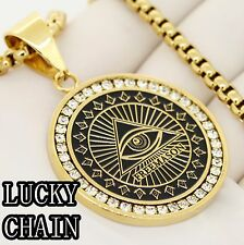 """STAINLESS STEEL GOLD ICED OUT EYE ROUND PENDANT 30""""ROUND BOX CHAIN 78g E200"""