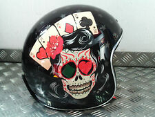 LS2 OF583 TATTOO GLOSS BLACK OPEN FACE JET CRASH HELMET SIZE MEDIUM