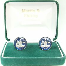 AUSTRALIA Cufflinks made from old coins in Blue and Silver