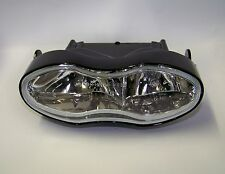 Dip & Main Full Light black oval clear lens Headlight UK E-mark Motorcycle cafe