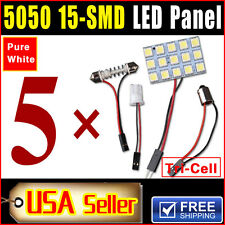 5 X Car Festoon T10 BA9S White LED 5050 15SMD Panel Interior Dome Map Light Bulb