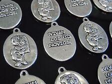 12 Colgantes Medianos Zamak, NOVIOS, boda, abalorios,pendant,pendentif,anhänger