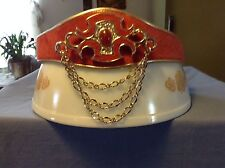 VINTAGE BOB MACKIE RED VELVET LEATHER LINED JEWELED GOLD CHAIN BELT SNAPS MEDIUM