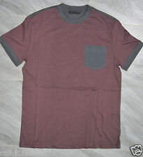 Authentic Mens Prada Maroon & Grey Two Tone Cotton Jersey Crew Neck T-Shirt S