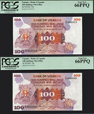 TT PK 19b 1982 UGANDA 100 SHILLINGS PCGS 66 PPQ GEM NONE FINER SET OF 2 NOTES