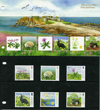 Alderney 2015 MNH Fauna & Flora 6v Set Presentation Pack Flowers Hedgehog Rabbit