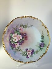 Heinrich Co Hand Painted Pink Floral Gold Gild Charger Display Plate Germany