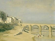JEAN BAPTISTE CAMILLE COROT FRENCH BRIDGE SEINE RIVER MACON ART PRINT BB5814A