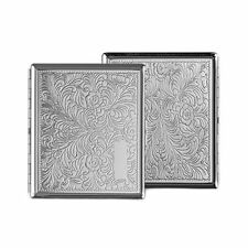 CIGARETTE CASE - - - Flowers engraved design Smoker Smoking Tin Box gift present