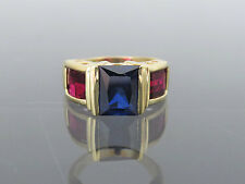 Vintage 14K Solid Yellow Gold Blue Sapphire & Ruby Cocktail Ring Size 9.75