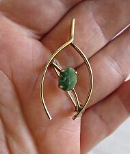 Vtg 50s BAL RON Green Connemara Jade Irish Wishbone 12K Gold Filled Pin Brooch