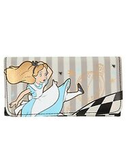 Disney Alice In Wonderland Checkered Falling Trifold Flap Wallet New With Tags!