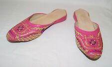 Vintage VRAI CUIR BABOUCHES Pink Embroidered Slippers Shoes Size 9 US 40 EU