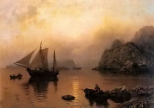 Oil painting hans fredrik gude - fishing party at sunrise landscape with boats