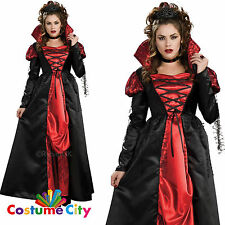 WOMAN's Halloween Regal Vampiro Regina Costume Taglia UK 10-12